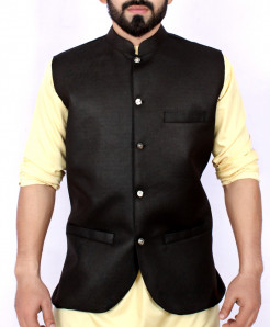 Black Plain Stylish Design Waistcoat ARK-935
