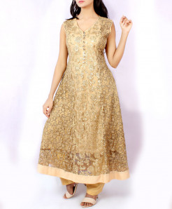 Golden Net Stylish Ladies Suit NGL-013
