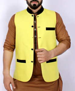 Yellow Cotton Stylish Waistcoat ARK-941