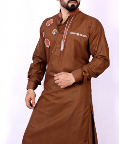 Brown Embroidered Kurta Shalwar ARK-957