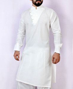 White Stylish Neck Design Kurta Shalwar ARK-960