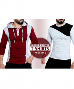 Pack Of 2 Hooded Printed T-Shirts MV-878