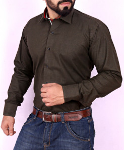 Choco Brown Textured Stylish Shirt FW-27
