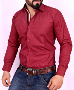 Maroon Textured Stylish Shirt FW-28