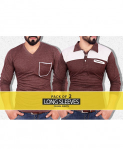Pack Of 2 Pocket Style Full Sleeves T-Shirts TA-6003