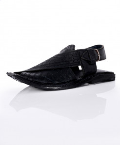 Black Dotted Stylish Design Peshawari Sandal AK-1052