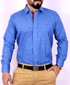 Blue Textured Stylish Shirt FW-32