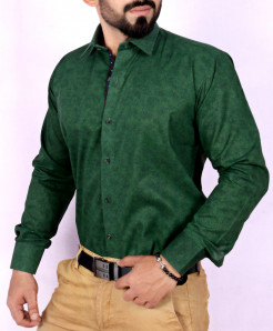 Forest Green Textured Stylish Shirt FW-34