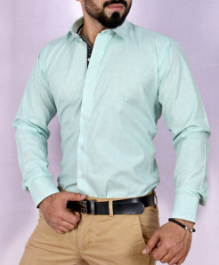 Sea Green Textured Stylish Shirt FW-35