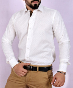 White Textured Stylish Shirt FW-36