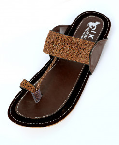 Brown Fancy Thumb Style Kolhapuri Chappal OM-5123