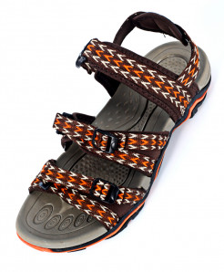 Brown Orange Tri Strap Casual Sandal SC-201620