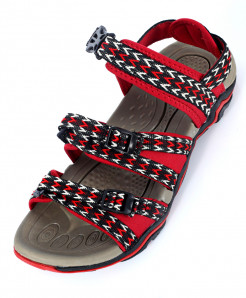 Red Black Tri Strap Casual Sandal SC-201620