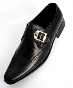 750ba3d0f48d0a Black Leather Side Buckle Stylish Formal Shoes LC-665
