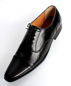 Black Leather Stitch Design Stylish Formal Shoes LC-512