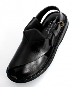 Black Handmade Leather Peshawari Sandal LC-522