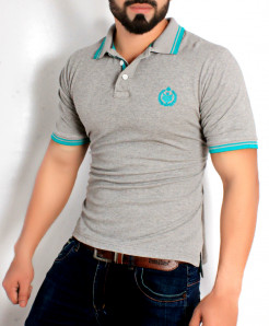 Grey Stylish Polo Shirt QZS-116
