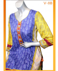 Blue Yellow Embroidered Lawn Unstitched Suit V-8B
