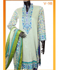 Multicolored Embroidered Lawn Unstitched Suit V-9B