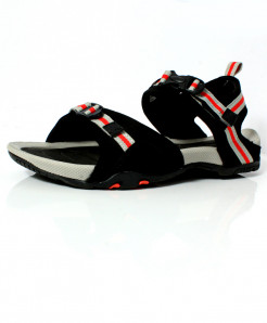 Black Red Stitched Design Casual Sandal DR-483