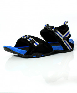 Black Blue Stitched Design Casual Sandal DR-484