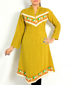Mustard Front Back Embroidered Stylish Kurti DK-007