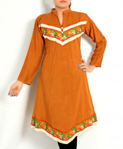 Orange Front Back Embroidered Stylish Kurti DK-008