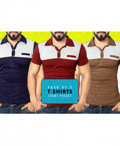 Pack Of 3 Front Pocket Stylish Tees FHQ-020