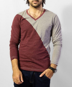 Maroon Grey FullSleeves T-Shirt QZS-124