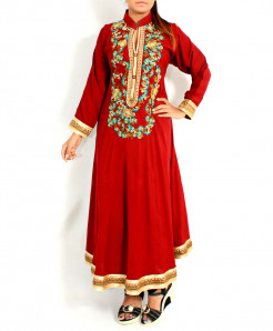 Maroon Front Back Embroidered Long Stylish Kurti KC-3741