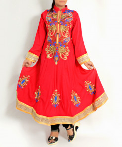 Dark Fuschia Front Back Embroidered Long Stylish Kurti KC-3742