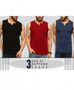 Pack Of 3 Button Stylish Top Tank Sando FSD-874
