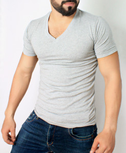 Grey V-Neck T-Shirt QZS-135