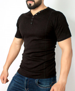 Black 7 Button Tshirt QZS-119