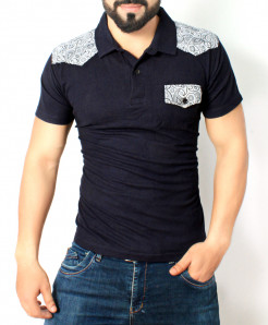 Navy Blue Floral Shoulder Polo Shirt QZS-992