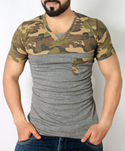 Army Charcoal Cotton Stylish T-Shirt QZS-974