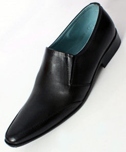 Black Leather Slip On Stylish Formal Shoes LC-006