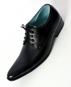 Black Leather Stitch Design Stylish Formal Shoes LC-553