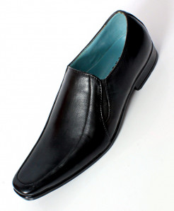Black Leather Slip On Stylish Formal Shoes LC-222