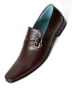 Choco Brown Leather Side Buckle Formal Shoes LC-0096