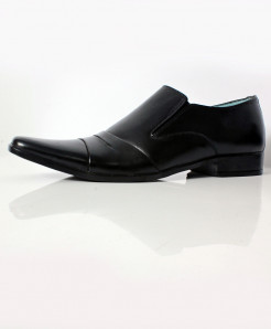 Black Leather Slip On Bow Design Formal Shoes LC-007