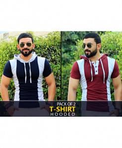 Pack Of 2 Hooded Stylish T-Shirts FSY-555