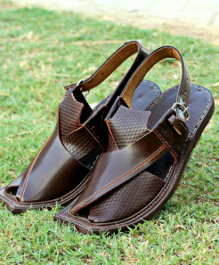 Choco Brown Stitched Dotted Peshawari Sandal AK-2711