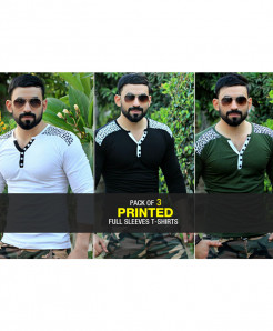 Pack Of 3 Printed Stylish T-Shirts FSZ-110