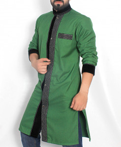 Green Black Checkered Shairwani Stylish Kurta ARK-970