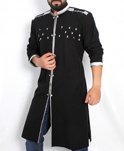 Black Shairwani Style Kurta With Patches ARK-972