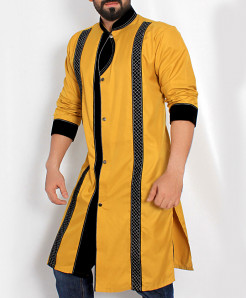 Yellow Checkered Patch Shairwani Style Kurta ARK-977