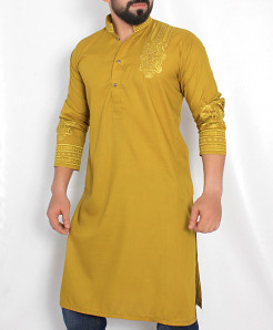 Dim Yellow Front Embroidered Stylish Kurta ARK-982