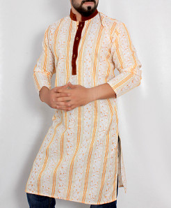 White Orange Embroidered Stylish Kurta ARK-984