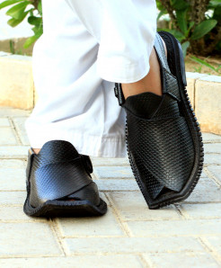 Black Stitched Stylish Peshawari Sandal AK-2729